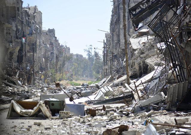 Vista general del campo de refugiados palestinos de Yarmuk en Damasco. 6 de abril de 2015