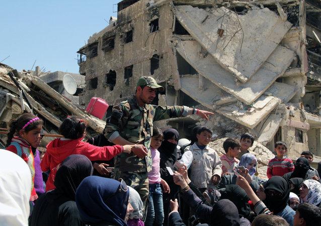 Situación en el campo de refugiados de Yarmuk en las afueras de Damasco