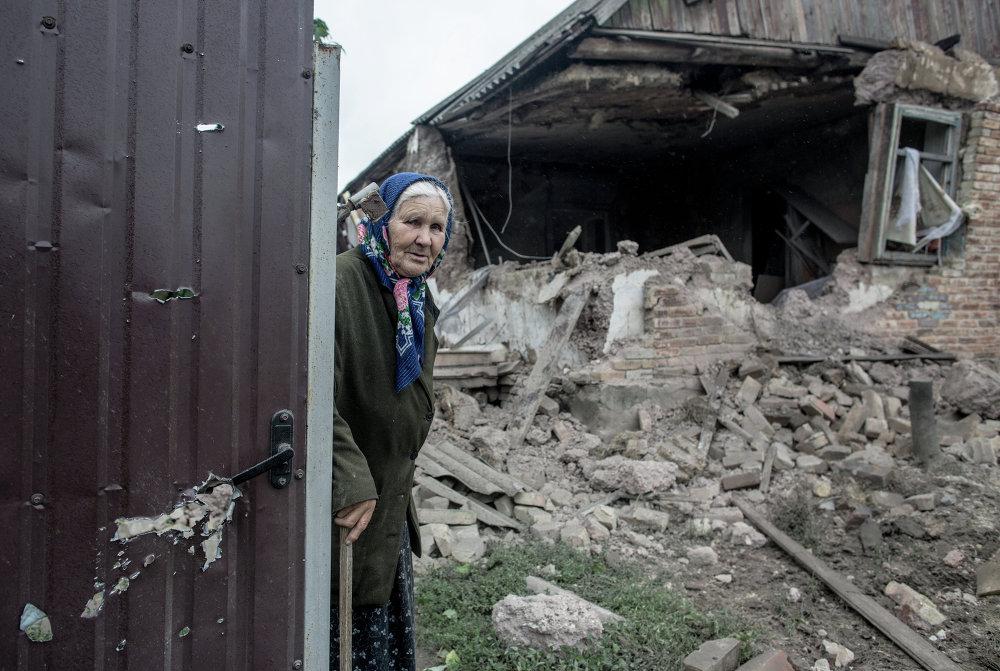 El pueblo de Golubovka, en las cercanías de Slaviansk, tras un bombardeo artillero (27 de junio de 2014)