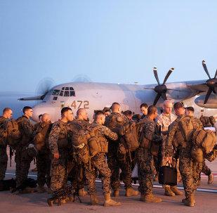 Marines estadounidenses en la base español Morón de la Frontera