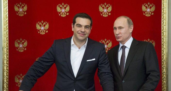 Primer ministro de Grecia, Alexis Tsipras y presidente de Rusia, Vladímir Putin