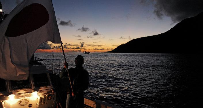 Un activista japonés cerca de las islas Senkaku