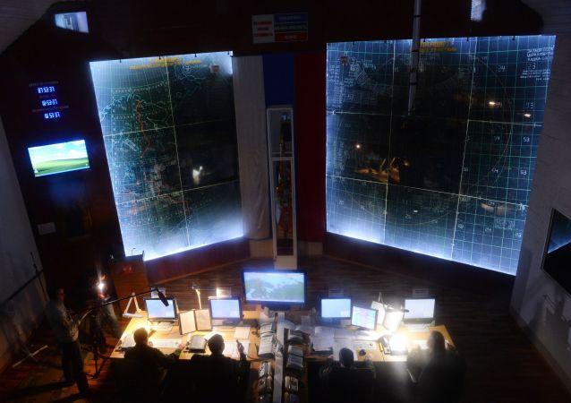 El punto de mando en una divisillon de misiles en del Ministerio de Defensa de Rusia