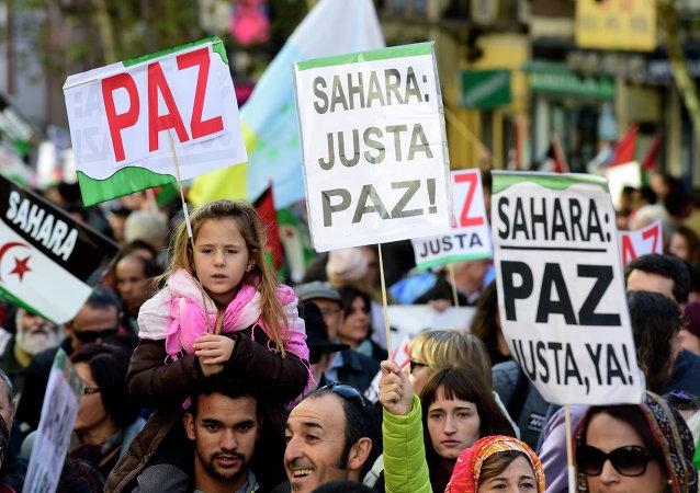 Concentración de apoyo al pueblo saharaui en Madrid, 16 de noviembre de 2014