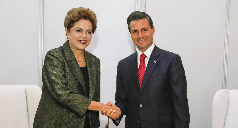 Presidenta de Brasil Dilma Rousseff y presidente de México Enrique Peña Nieto