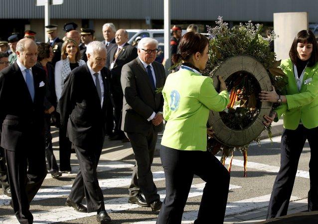 El canciller francés Laurent Fabius, el español José Manuel García Margallo, el alemán Frank-Walter Steinmeier