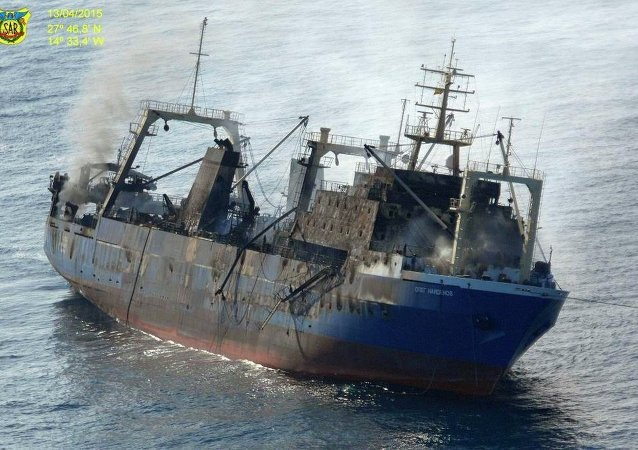 Pesquero Oleg Naydenov antes de hundirse en el océano Atlántico a unas 15 millas de Maspalomas, en Gran Canaria