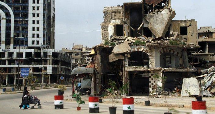 Casas destruidas en la ciudad siria de Homs