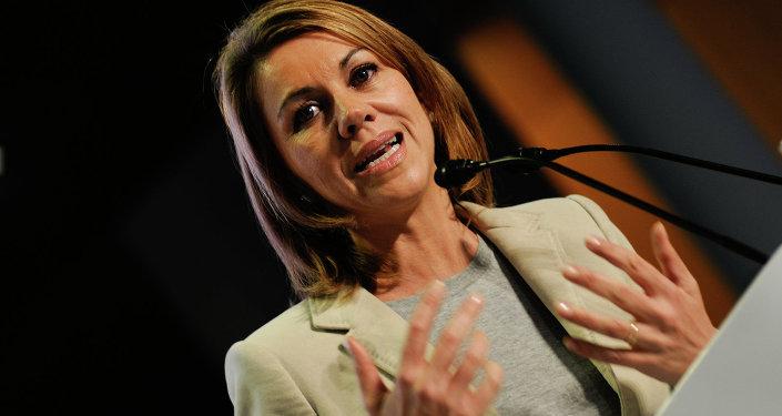 María Dolores de Cospedal durante su intervención en la Convención del  Partido Popular de Galicia (Archivo)