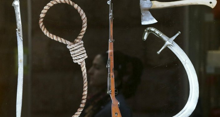Un cartel que representa a Herramientas de Genocidio