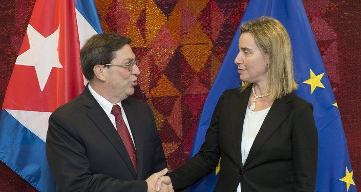 Ministro de Exteriores de Cuba, Bruno Rodríguez y alta representante de la UE para Asuntos Exteriores y Política de Seguridad, Federica Mogherini