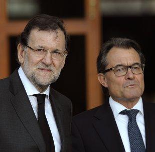 Presidente del Gobierno de España, Mariano Rajoy y presidente de Cataluña, Artur Mas
