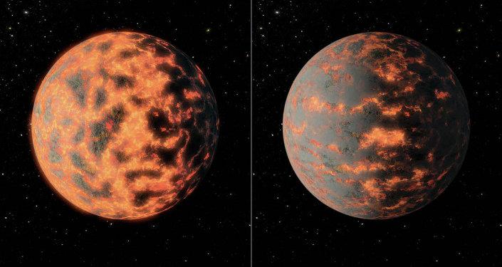 Una representación artística de 55 Cancri e