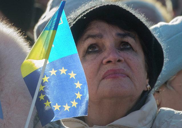 Mitin de la Plaza de la Independencia en Kyiv en pro de la euro integración de Ucrania (archivo)
