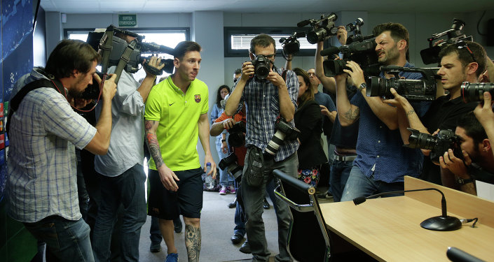 Leo Messi en la rueda de prensa previa al Barça-Bayern de la Champions