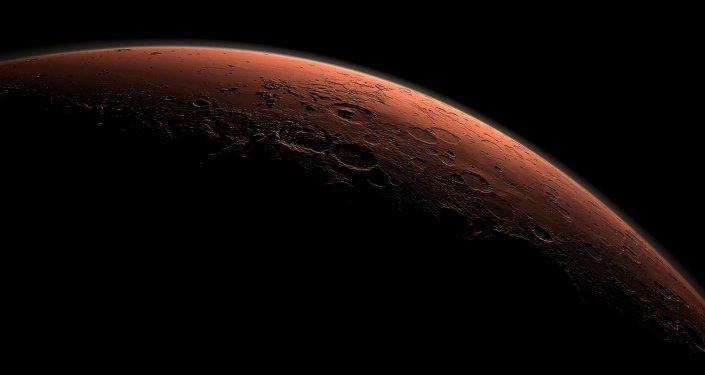 Vista generada por un ordenador que representa un parte de Marte