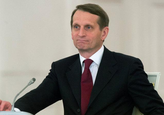 Serguéi Narishkin, jefe de la Duma de Estado de Rusia