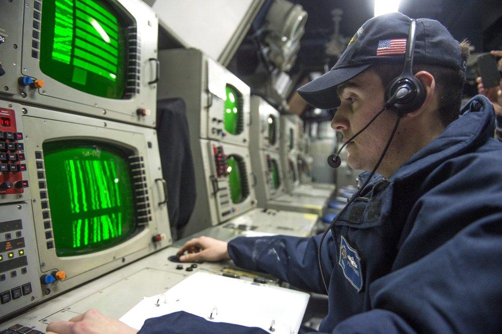 A bordo del crucero portamisiles USS Vicksburg