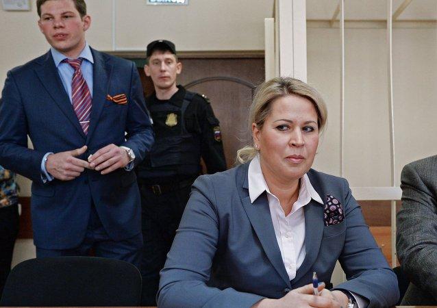 Evguenia Vasilieva en el tribunal Presnensky de Moscú