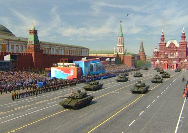 Desfile militar en la Plaza Roja de Moscú
