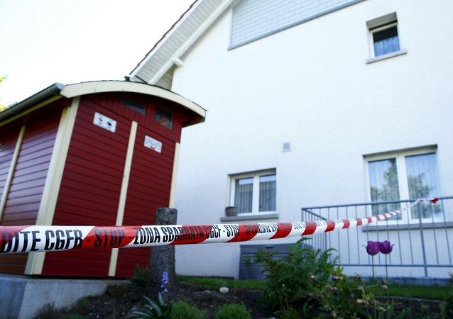 Lugar del tirroteo en el barrio residencial de Wurenlingen