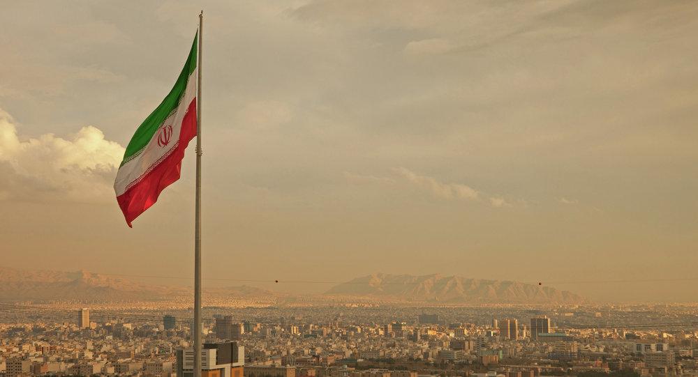 Bandera de Irán en Teherán