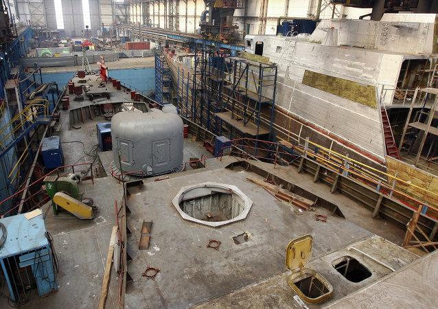Construcción de la fragata del proyecto 3.9 Gepard en el astillero ruso de Zelenodolsk