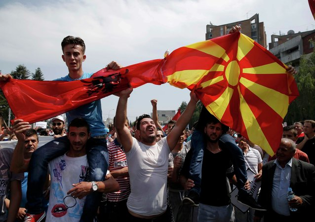 Protestas en Macedonia