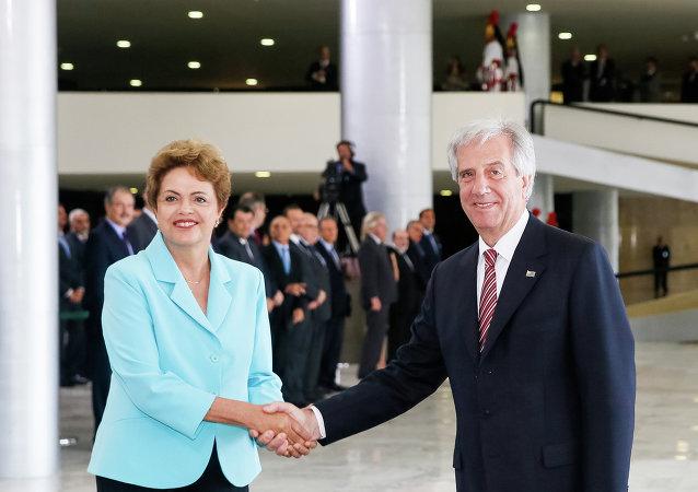 Presidenta de Brasil, Dilma Rousseff, y su homólogo uruguayo, Tabaré Vázquez