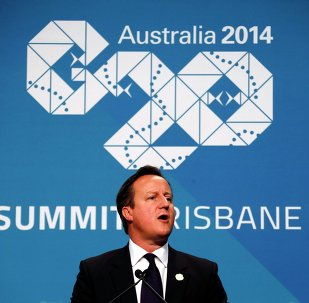 British Prime Minister David Cameron speaks during a media conference at the G20 summit in Brisbane November 16, 2014