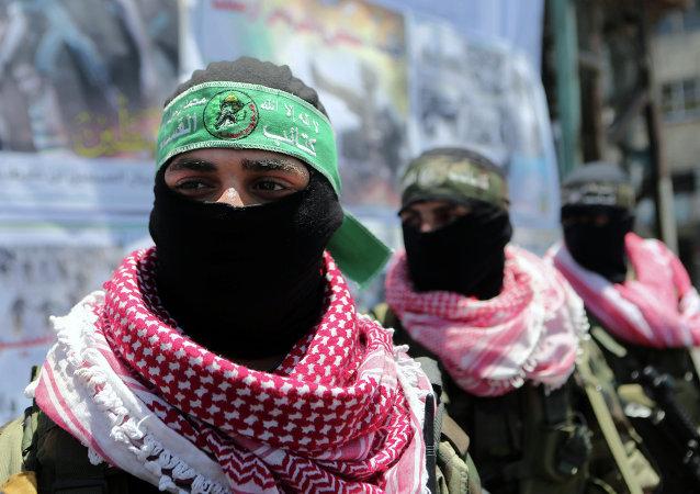 Militantes de las Brigadas de Ezzeldin Al-Qassam, brazo armado de Hamás