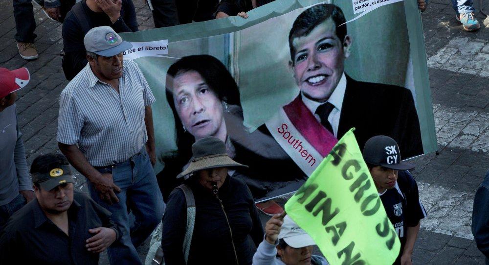Manifestación de protesta en Arequipa, Perú