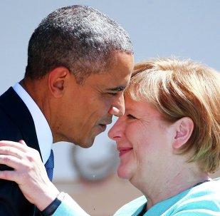 Presidente de EEUU, Barack Obama y canciller de Alemania, Angela Merkel