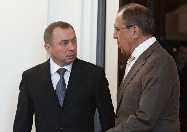 Vladímir Makei, ministro de Exteriores de Bielorrusia y Serguéi Lavrov, ministro de Exteriores de Rusia