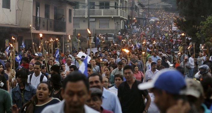 Marcha de las antorchas en Tegucigalpa