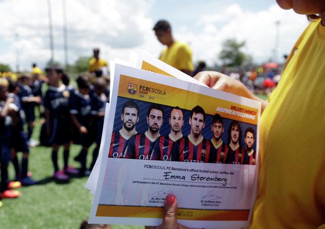 Niños en la escuela de FC Barcelona en Miami (archivo)