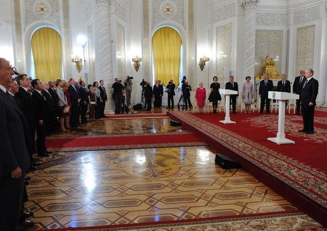 Vladímir Putin, presidente ruso en la ceremonia de entrega de premios estatales con el motivo del Día de Rusia