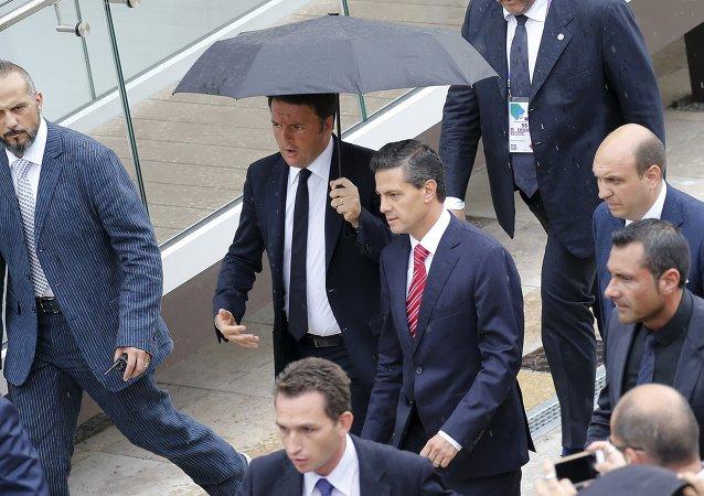 Primer ministro de Italia, Matteo Renzi, y presidente de México, Enrique Peña Nieto