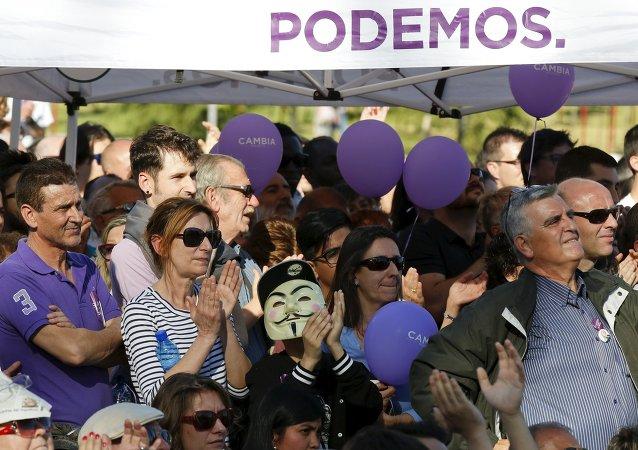 Marcha en apoyo del movimiento Podemos en Madrid