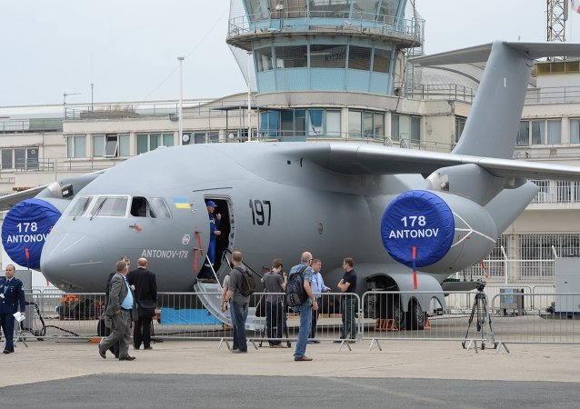 Avión An-178 de Ucrania en Le Bourget