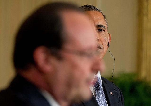 Presidente de Francia, François Hollande y presidente de EEUU, Barack Obama