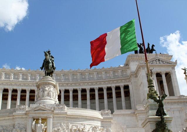 Bandera de Italia en Roma