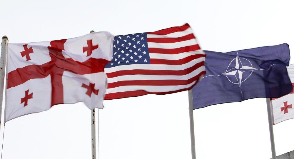 Banderas de Georgia, EEUU y OTAN