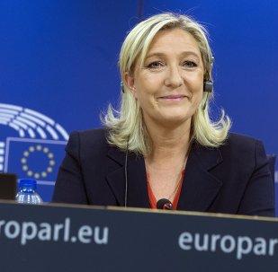 Marine Le Pen,  presidenta del partido Frente Nacional