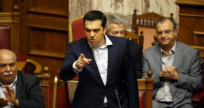 Alexis Tsipras, primer ministro de Grecia, en el Parlamento griego