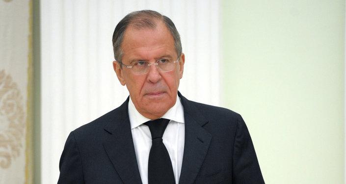 Serguéi Lavrov, ministro de Exteriores de Rusia, durante las conversaciones con su colega sirio, Walid Muallem