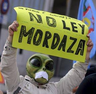 Protesta contra la ley mordaza en Gijón, España, el 30 de junio, 2015