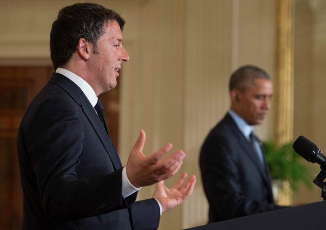 Primer ministro de Italia, Matteo Renzi y presidente de EEUU, Barack Obama