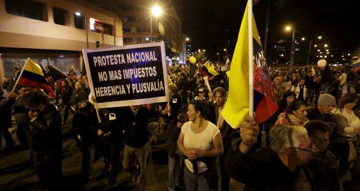 Protestas contra nuevos impuestos en Quito, Ecuador