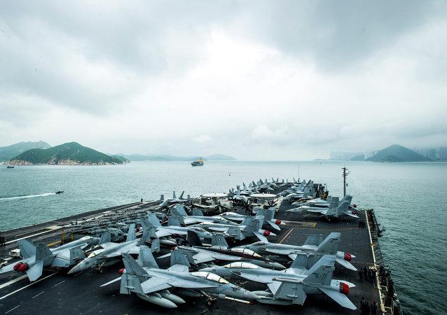 El portaaviones estadounidense USS George Washington se aproxima a Hong Kong, China